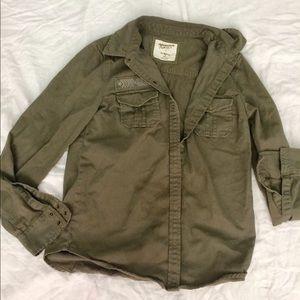 Juniors Olive Green Shirt Jacket